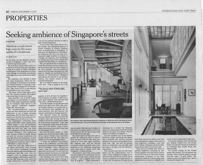 The New York Times coverage of our home, providing a local flavour to your stay