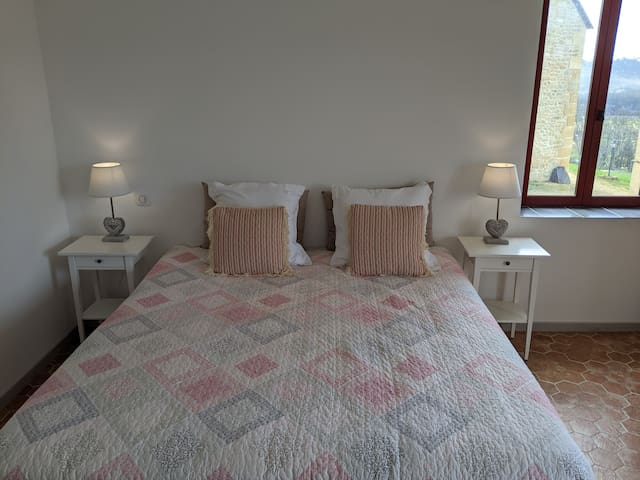 Room 3 Bedroom on ground floor (double or twin setup) with en-suite bathroom.  Third single bed available.  The main building for the living room and breakfast is adjacent.