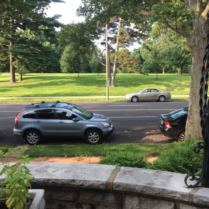 View from porch to Park