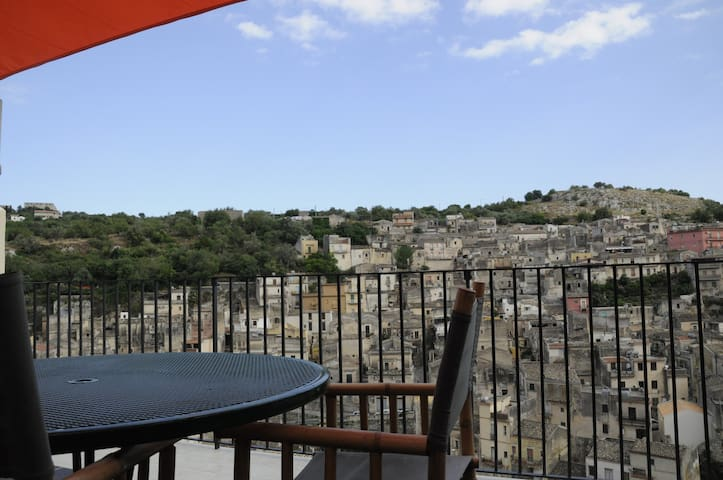 Modica old town. Terrace with view