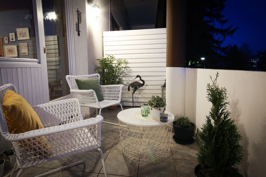 Charming terrace at night