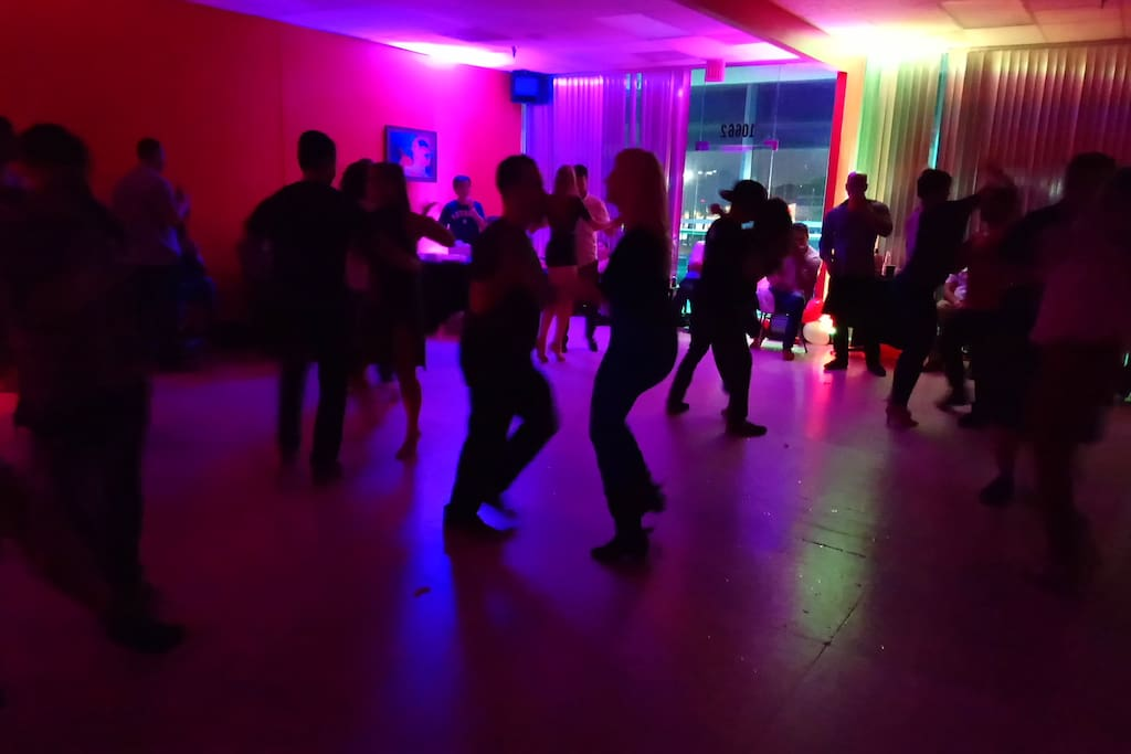 The main room is great for hosting events of ANY kind such as dance parties, art shows, karaoke, private dance lessons, meetings, and photography.