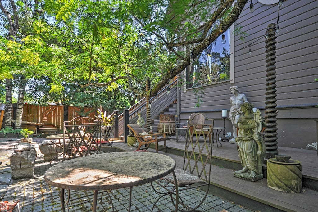 Unwind in the picturesque backyard of this quaint Portland vacation rental apartment