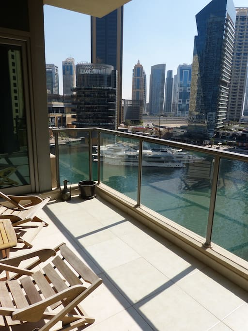 Large Balcony with Marina View and booth access from Living room or Bed room