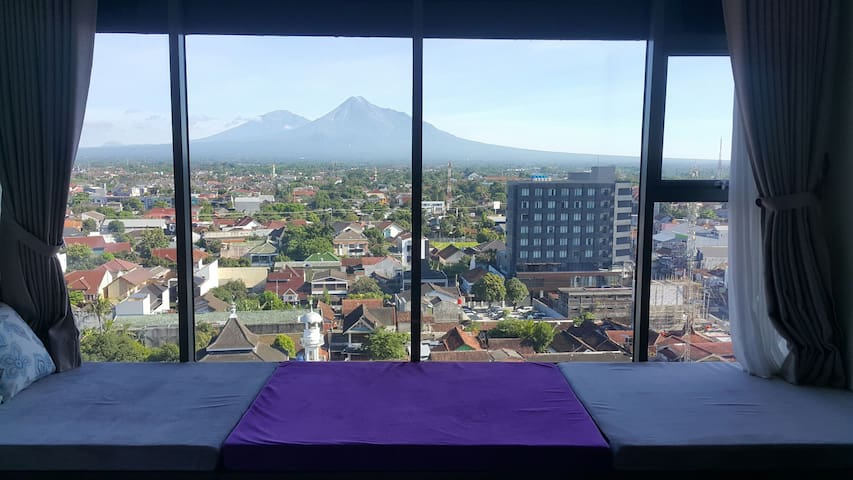 Mount Merapi and Merbabu View from Bedroom
