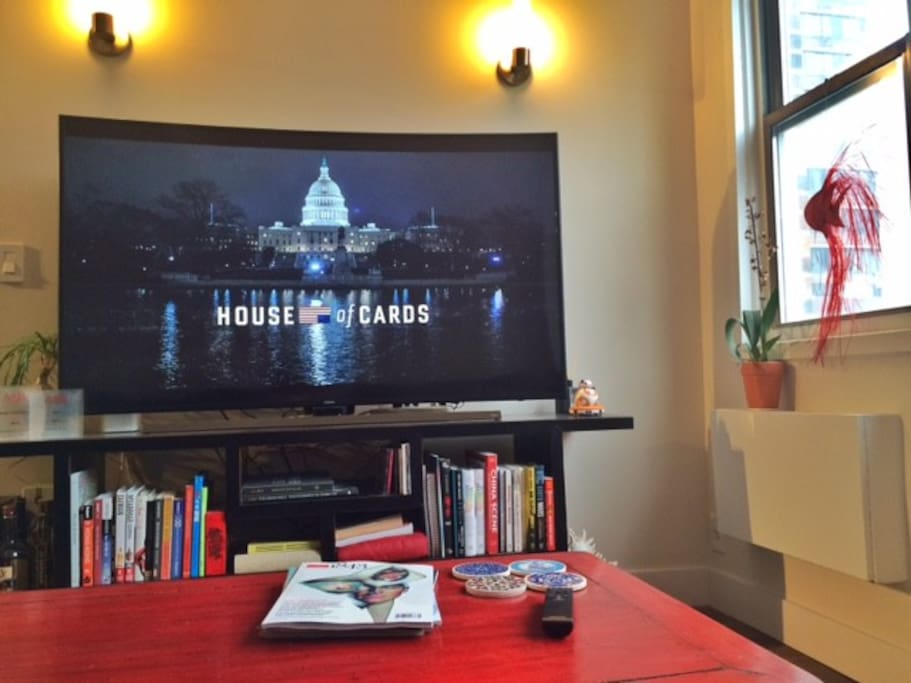 Unwind from your day by catching up on your Game of Thrones, House of Cards or other shows on this 65-inch curved screen television. My Apple TV also has HBO Go, Comedy Central, CNN, ABC, AMC and other channels available.