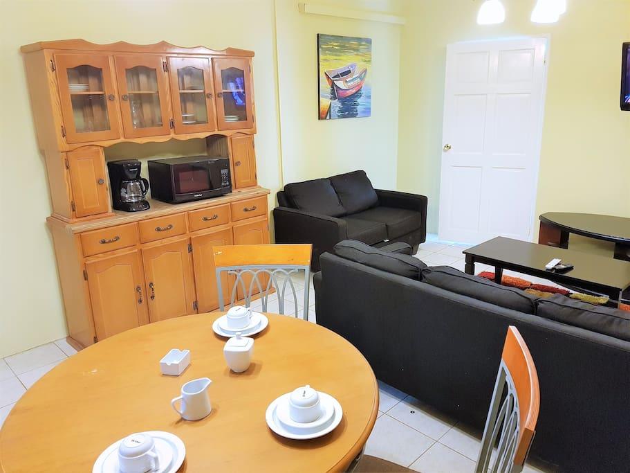 Living room area (brand new dishware)