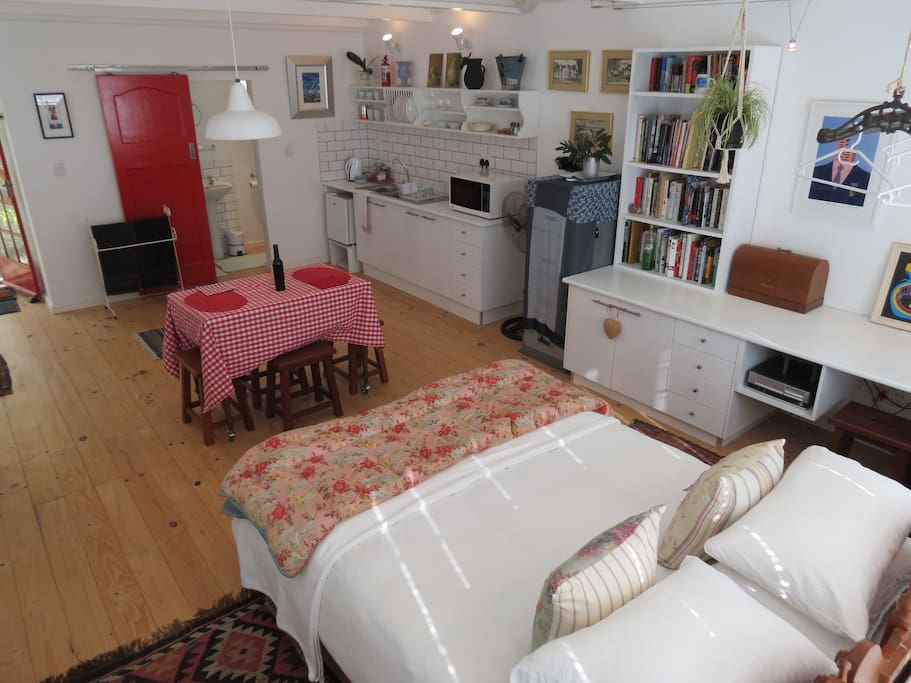 This spacious loft includes a small kitchen space with microwave, fridge, toaster, cutlery and crockery - all you need for independent self-catering.