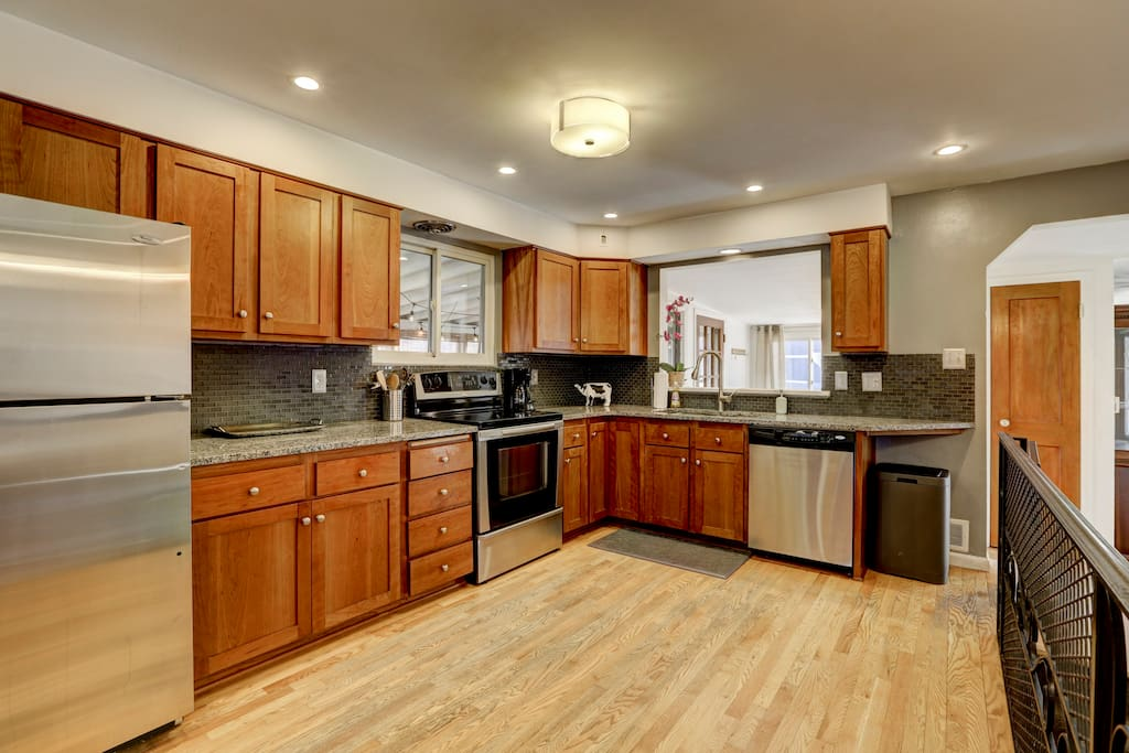 The large open kitchen provides everything you need for your group.