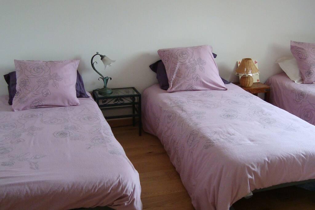 3 lits individuels, mais on peut les rapprocher pour un couple.
