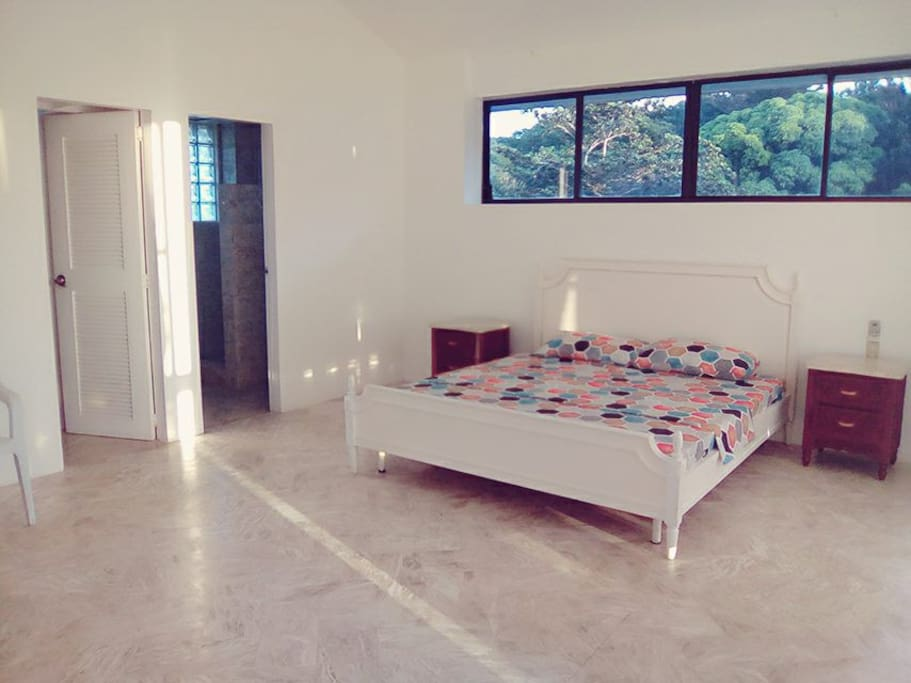 third floor master bedroom with walk in closet, marble bathroom hot and cold shower running water throughout house