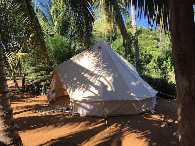 Glamping tent on a magical place surrounded by nature
