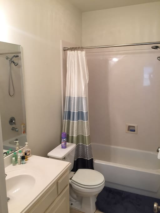Bathroom with shampoo, body wash, hair dryer