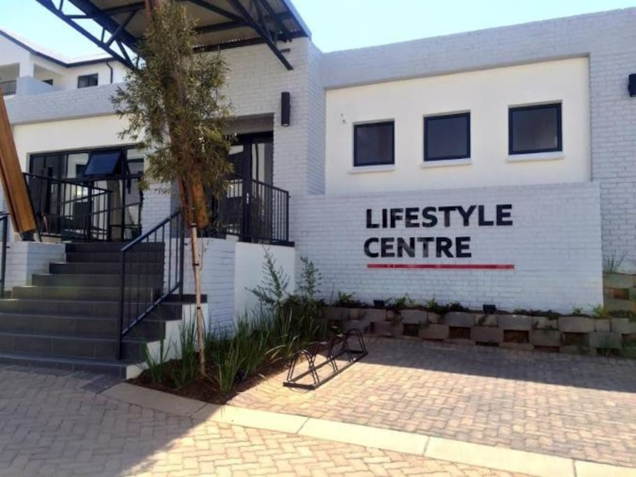 Entrance to gym and restaurant