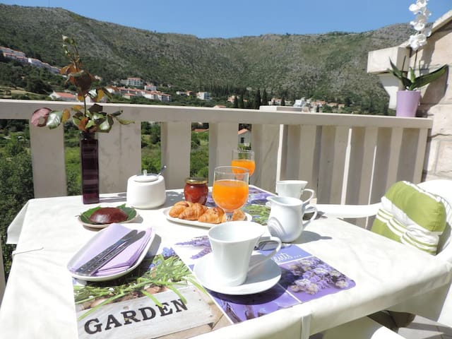 One bedroom apartment with balcony and sea view Zaton Mali (Dubrovnik) (A-12120-b)