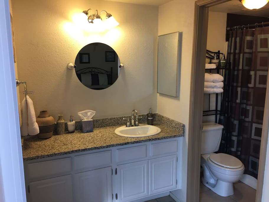 Large Master Bath with granite vanity and separate full tub/shower combo