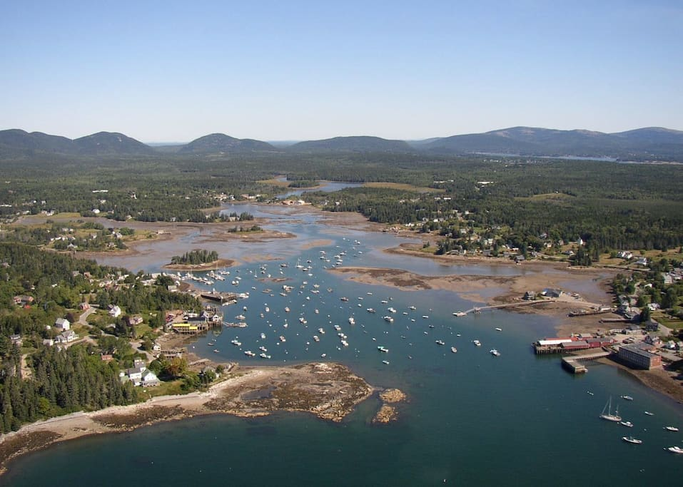 Bass Harbor with the mountains of Acadia.