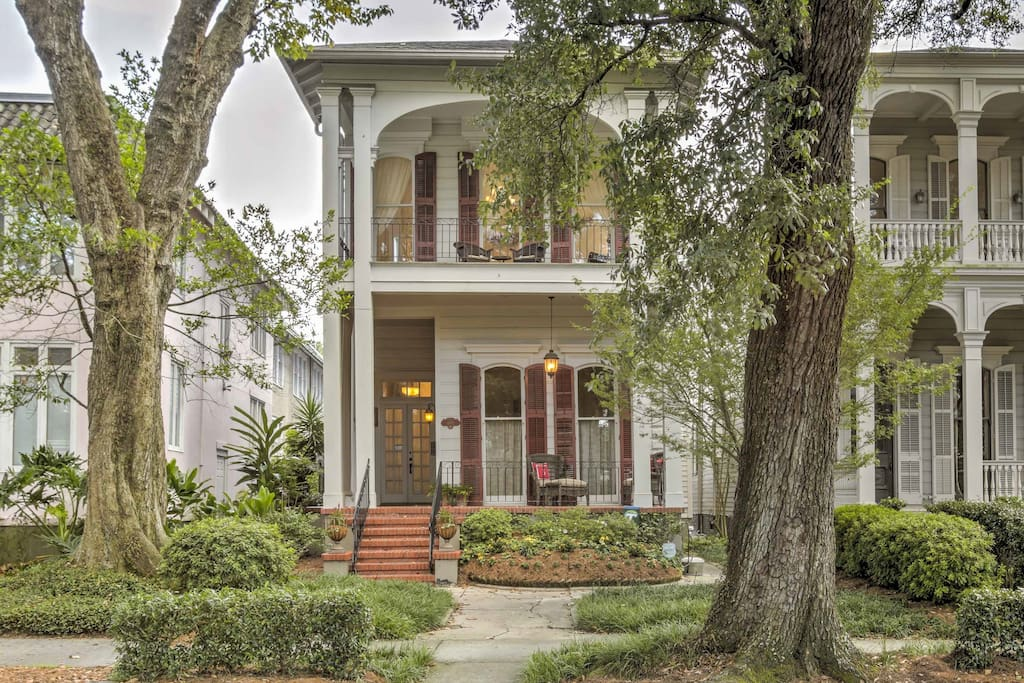 Built in the 1850's, this classic antebellum home overlooks a streetcar stop on St. Charles Avenue.