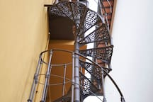 Details of the spiral staircase.