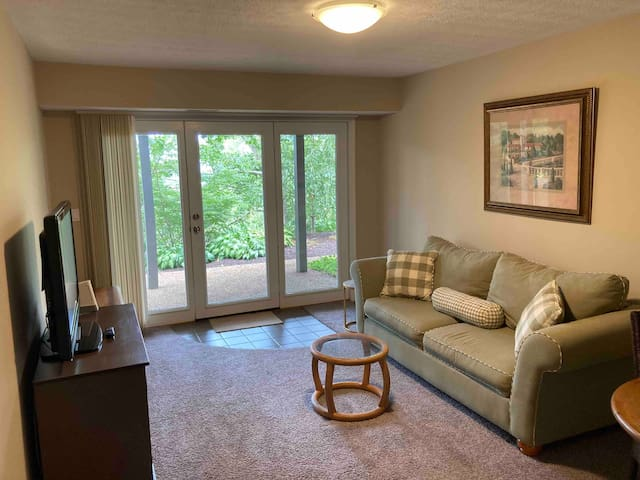 Living room showing entrance to suite.