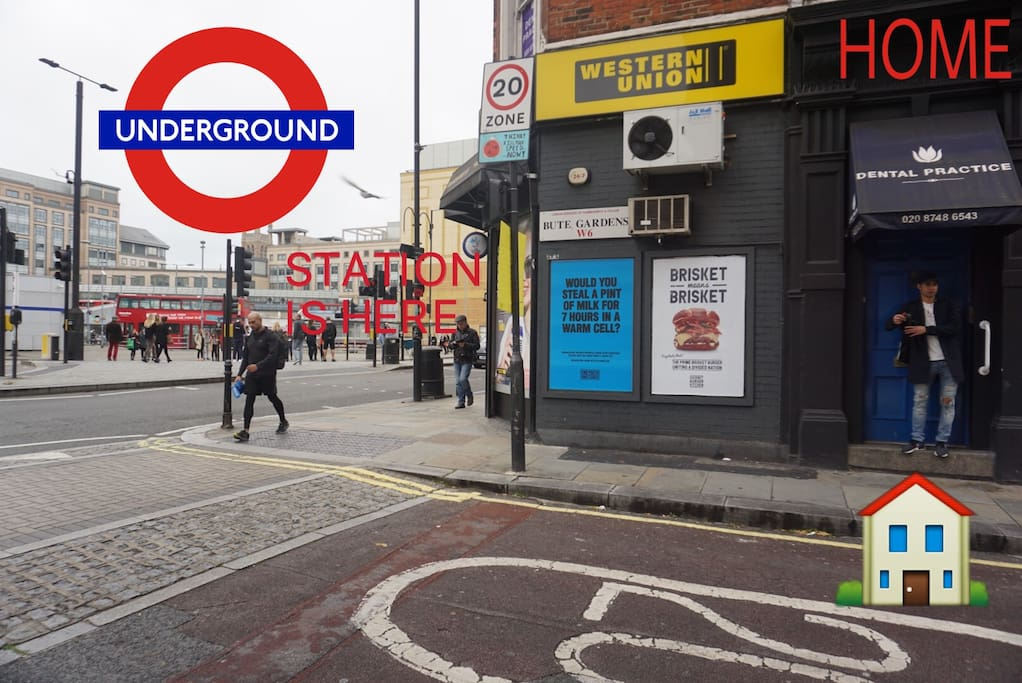 The Hammersmith Underground station just right next to the house  It takes 24mins to central london and 40mins from Heathrow airport And there's the elevator access too