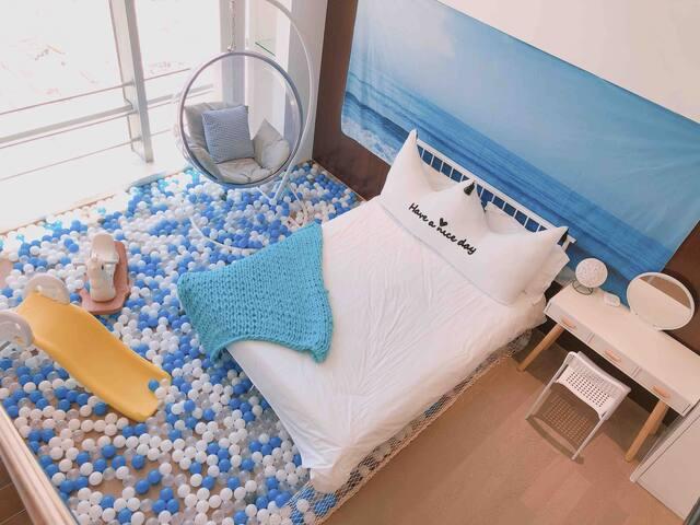 #FengYu Apartment* 玻璃海洋球赏澳复式亲子家庭三床套房/横琴口岸/澳门度假出游首选