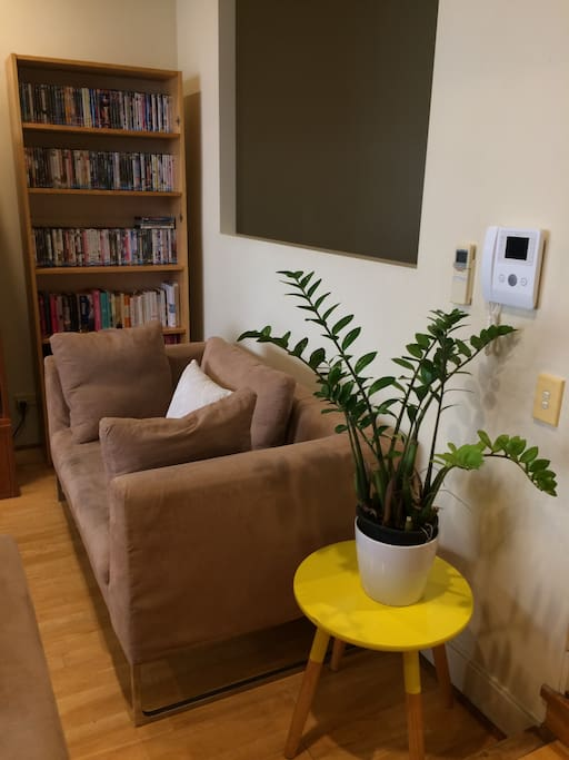 Comfortable couch with library of books and dvds.