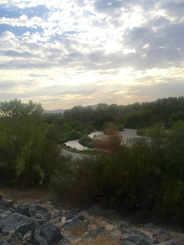 Santa Ana river flowing on bike trail 5 minutes from house.