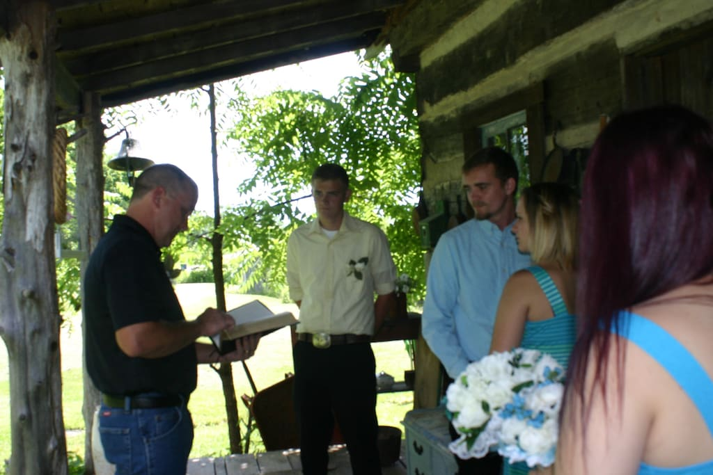 Small wedding on front porch
