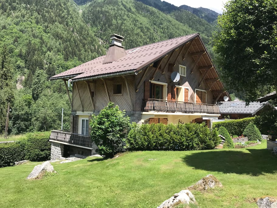 View of the Chalet and balcony from the garden