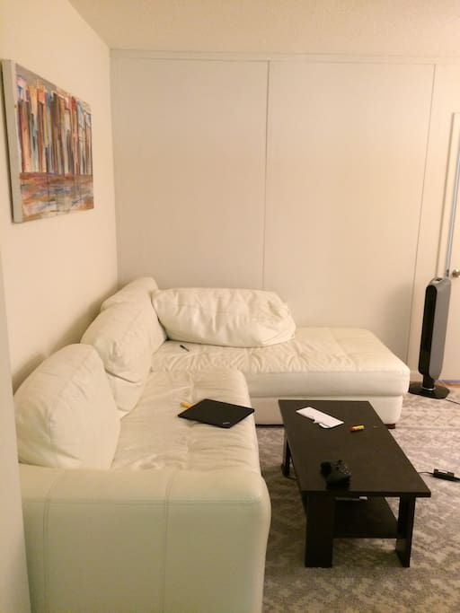 Living Room w/ Roomy White leather Couch