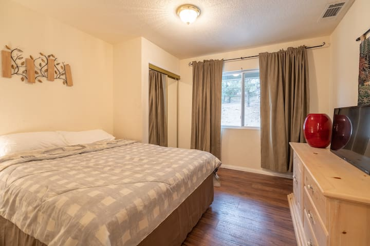 Mid-level bedroom with Queen bed, TV with Netflix, and bedside lamp with USB ports for easy phone charging.