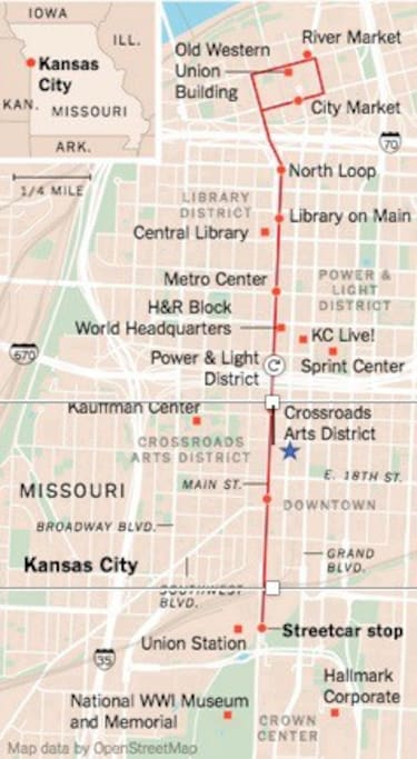 Perfect Location in the Heart of the Crossroads! The FREE KC Streetcar map and the star is our location!