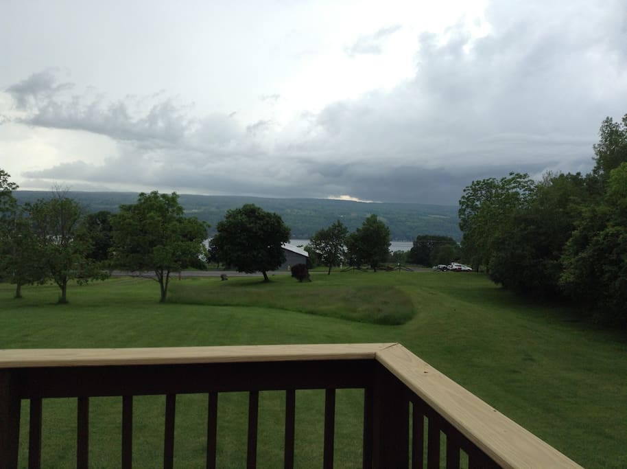 front deck with a beautiful view of the lake.