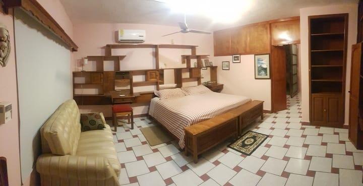 Habitación amplia. Cama KS, A/C, baño privado.