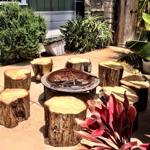 Backyard Patio Firepit.  Campfire vibes, grab a guitar and bring it to life.