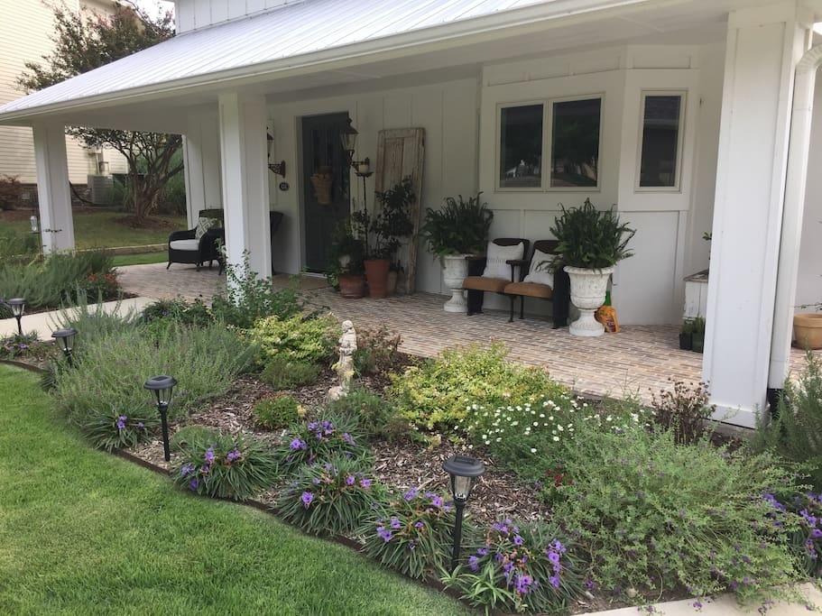 Front porch and flower beds