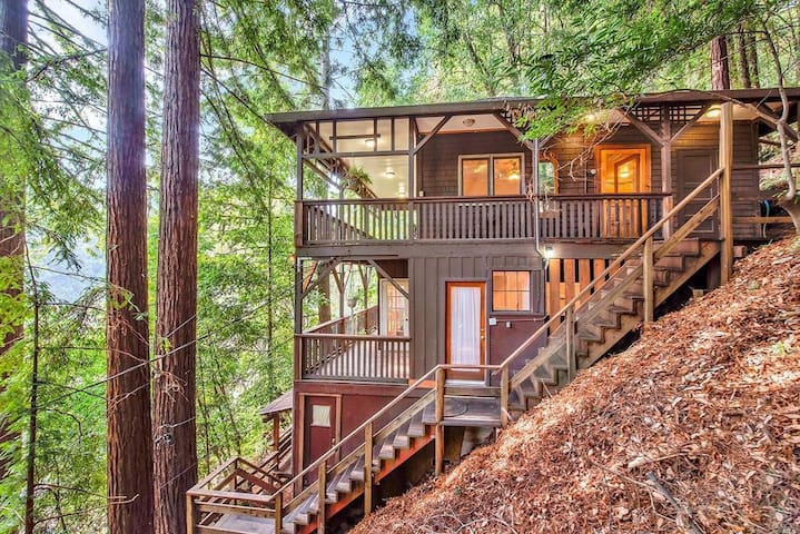 Shady Redwoods: Cozy 2 BR w/ hot tub+close to dt