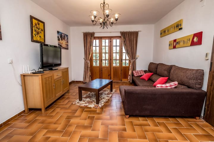 Comfortable lounge with tv,  internet and sofa bed.