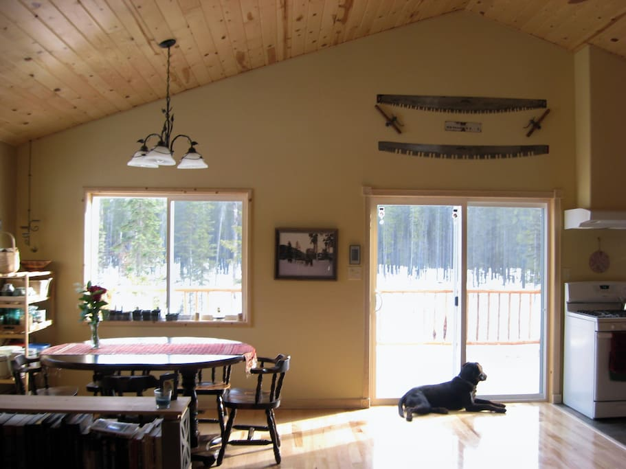Cathedral Ceiling Great Room features sliding glass door that opens on to the upper level deck with grill, picnic table and beautiful mountain views.
