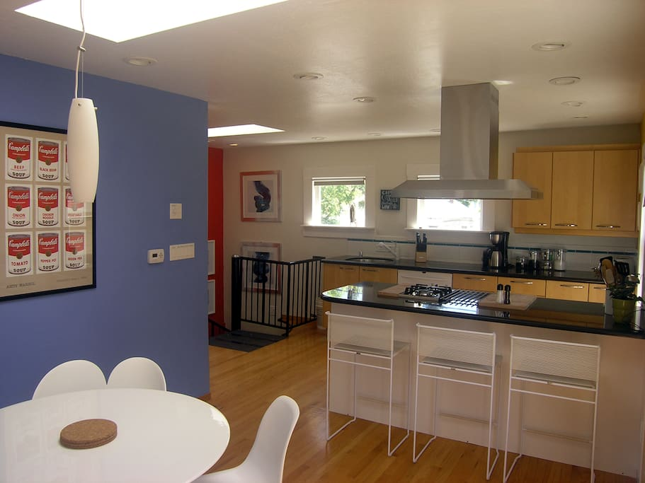Bright colors surround you in this second floor sunshine-filled well-equipped modern kitchen.
