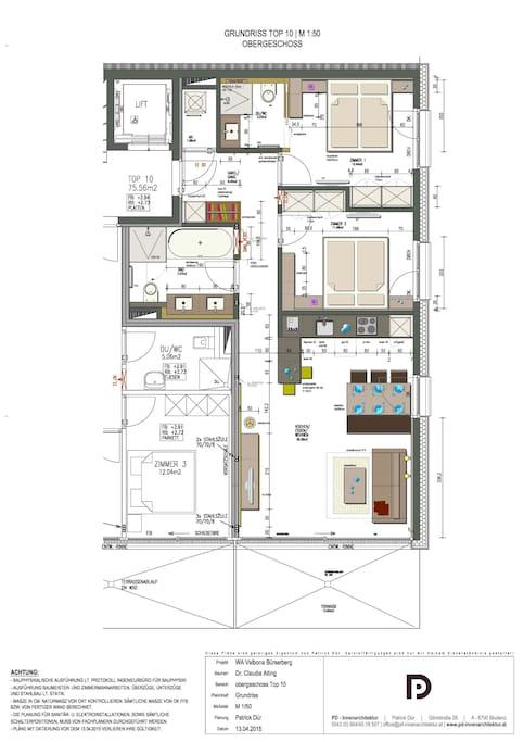 Grundriss Appartement Valbonablick