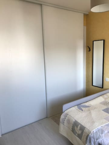 Grand placard, penderie, miroir