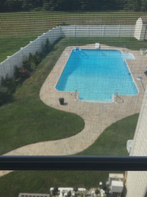 pool view from bedroom window