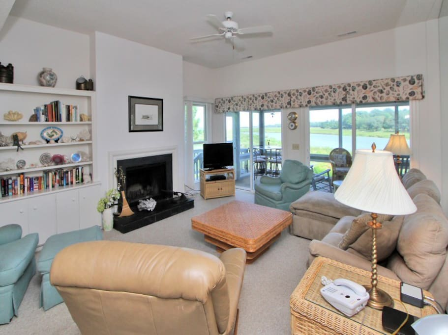 Living Room with Water Views at 24 Lands End Court