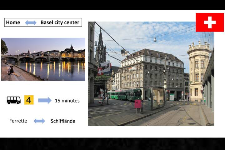 It takes 15 minutes to get to the center of Basel (Bus)