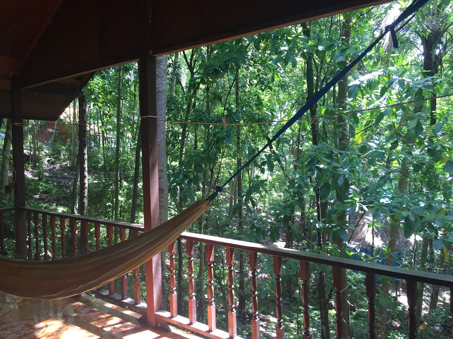 Jungle Views from your balcony with a hammock to relax into