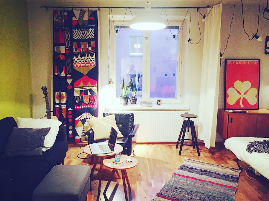 The studio has a combined living and bedroom areas that you can divide with a curtain.