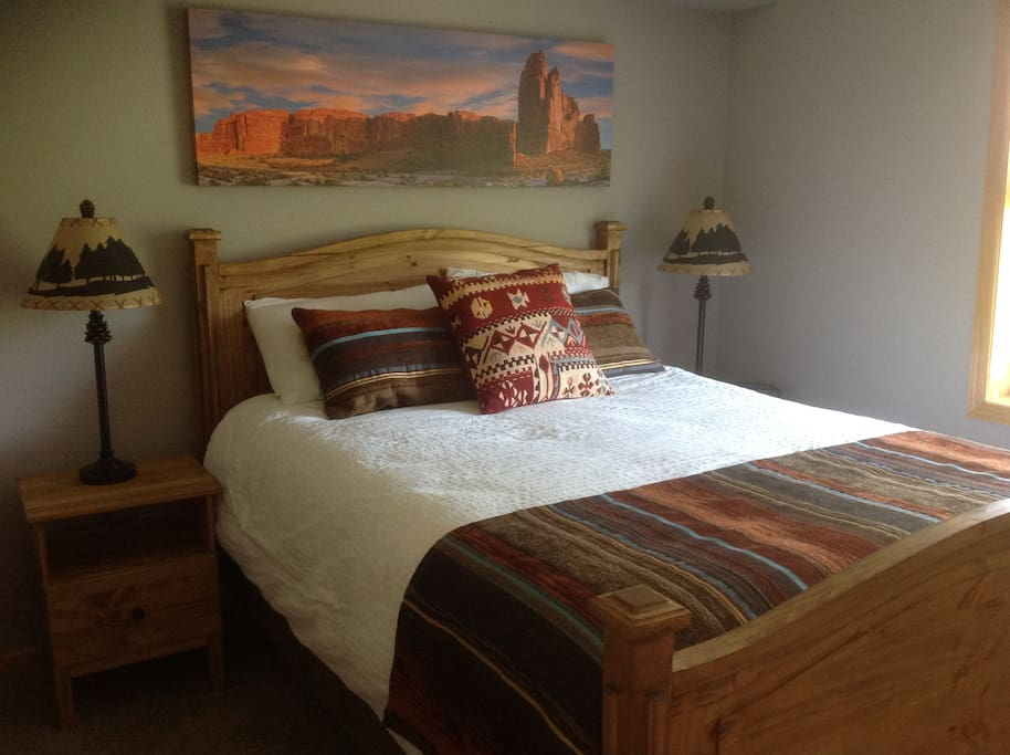 Master bedroom with rustic southwestern touches