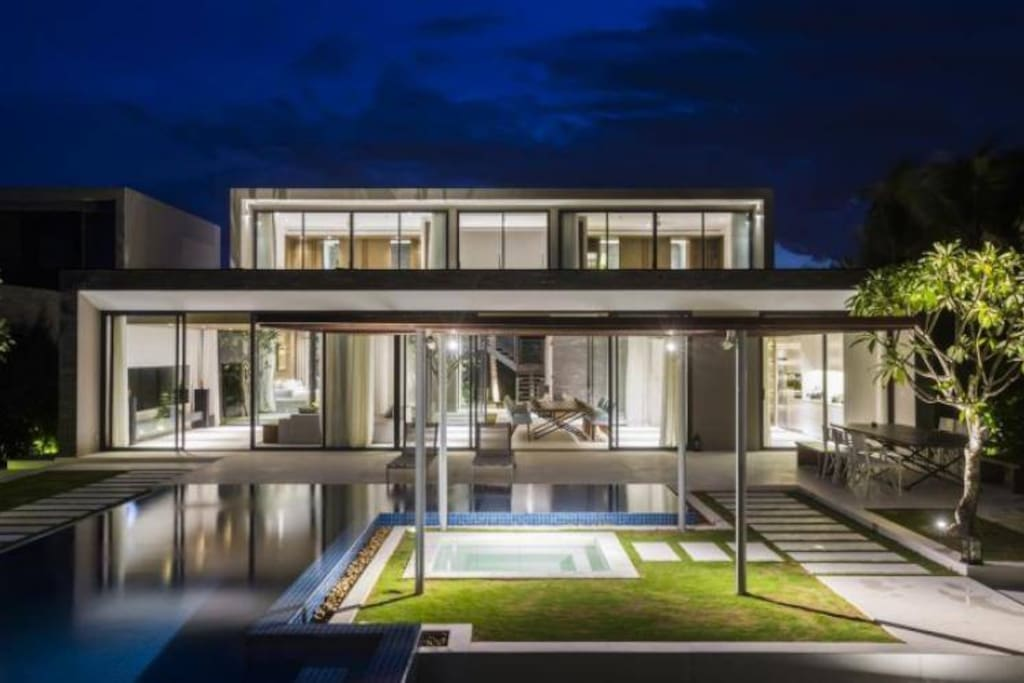 A luxury building with a modern. 2 floor and a private swimming pool